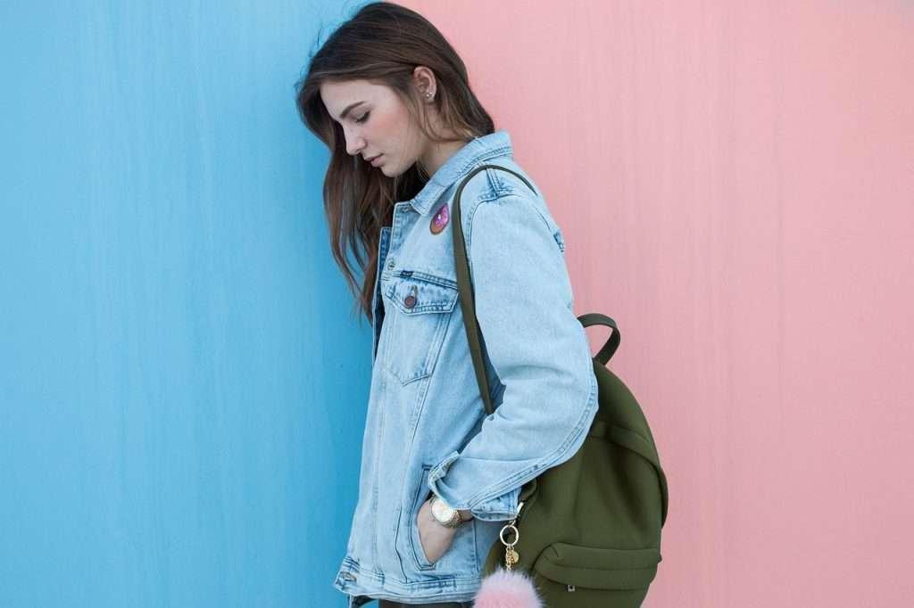 woman, brunette, denim jacket
